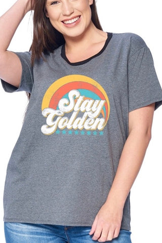 CURVY STAY GOLDEN GRAPHIC TEE