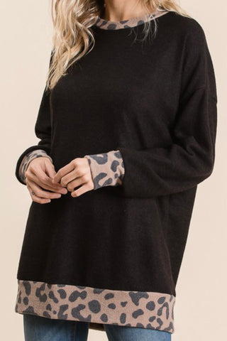 LONG SLEEVE BRUSHED TOP WITH LEOPARD CUFF AND TRIM