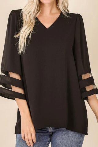 CURVY BELL SLEEVE TOP WITH MESH DETAIL