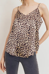 SATEEN LEOPARD CAMI WITH ADJUSTABLE STRAPS