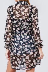 LONG SLEEVE FLORAL BUTTON DOWN SHEER TUNIC WITH TIE WAIST