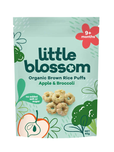 Little Blossom Organic Baby Puff Apple Broccoli Front of Pack