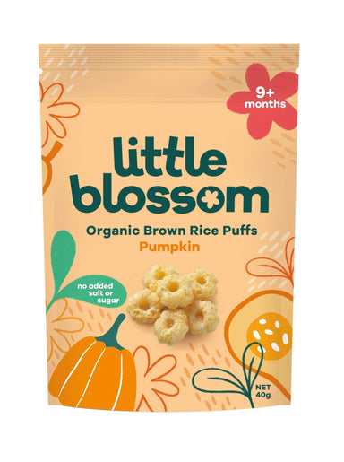 Little Blossom Organic Baby Puffs Pumpkin Front of Pack
