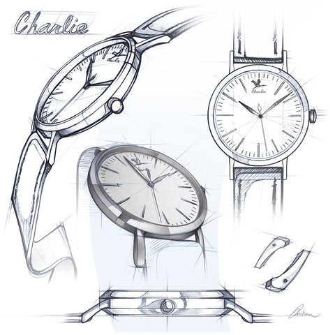 croquis montre charlie watch