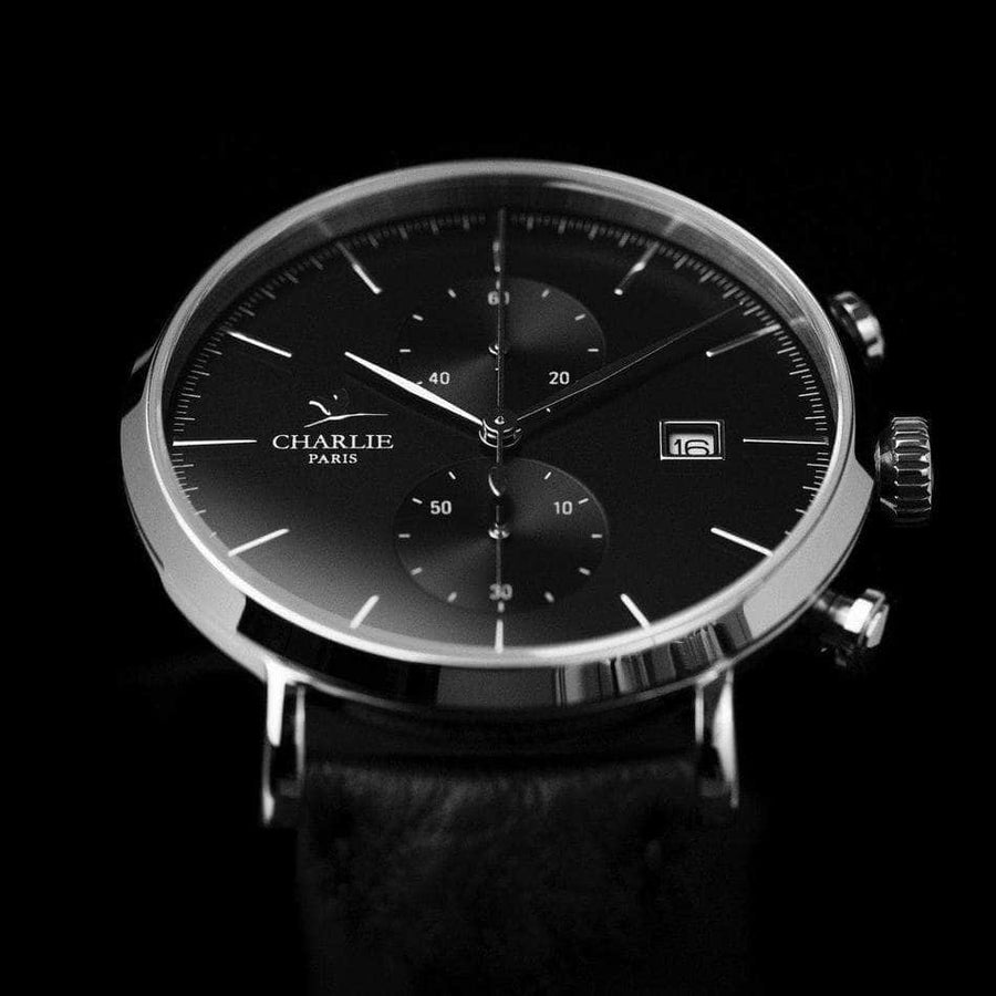 HORIZON - Noir - Montre homme française - Charlie Watch Paris - Made in France