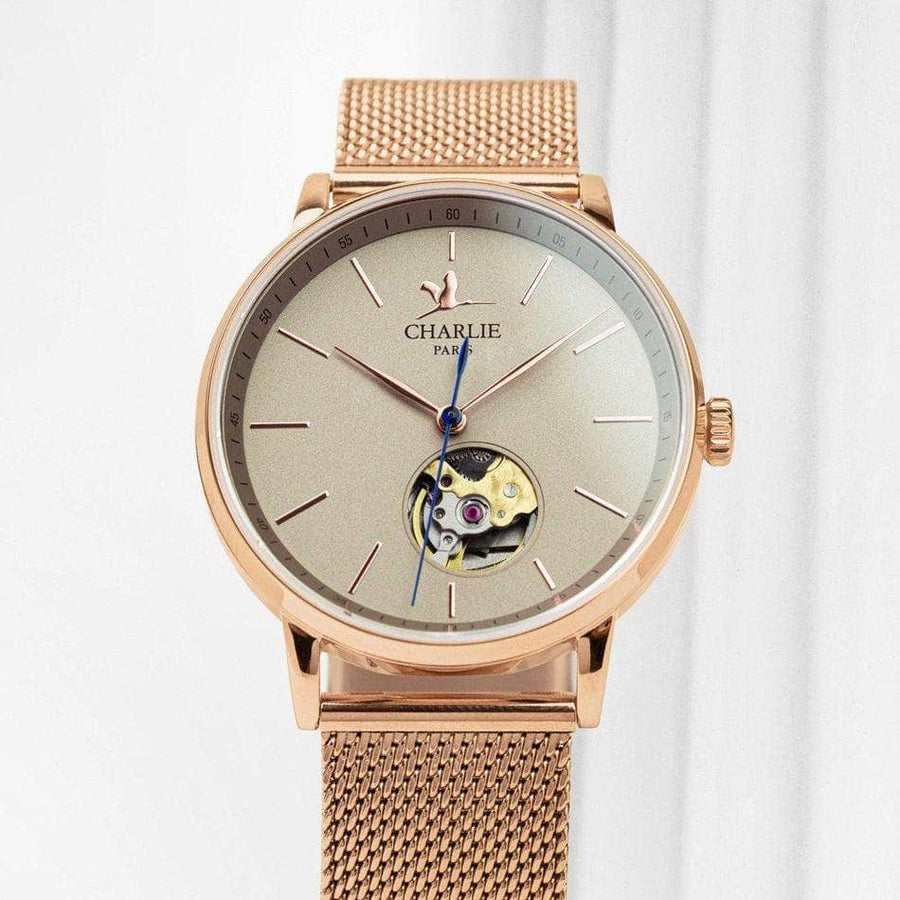 INITIAL 36 Cœur Ouvert - Or rose - Montre homme française - Charlie Watch Paris - Made in France