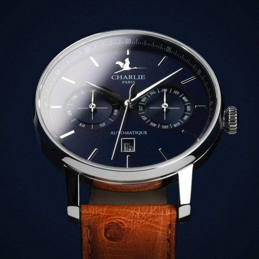 INITIAL - Calendrier - Bleu - Montre homme française - Charlie Watch Paris - Made in France