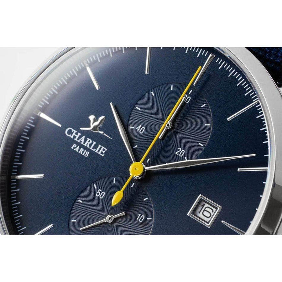 HORIZON - Bleu - Trotteuse jaune - Montre homme française - Charlie Watch Paris - Made in France