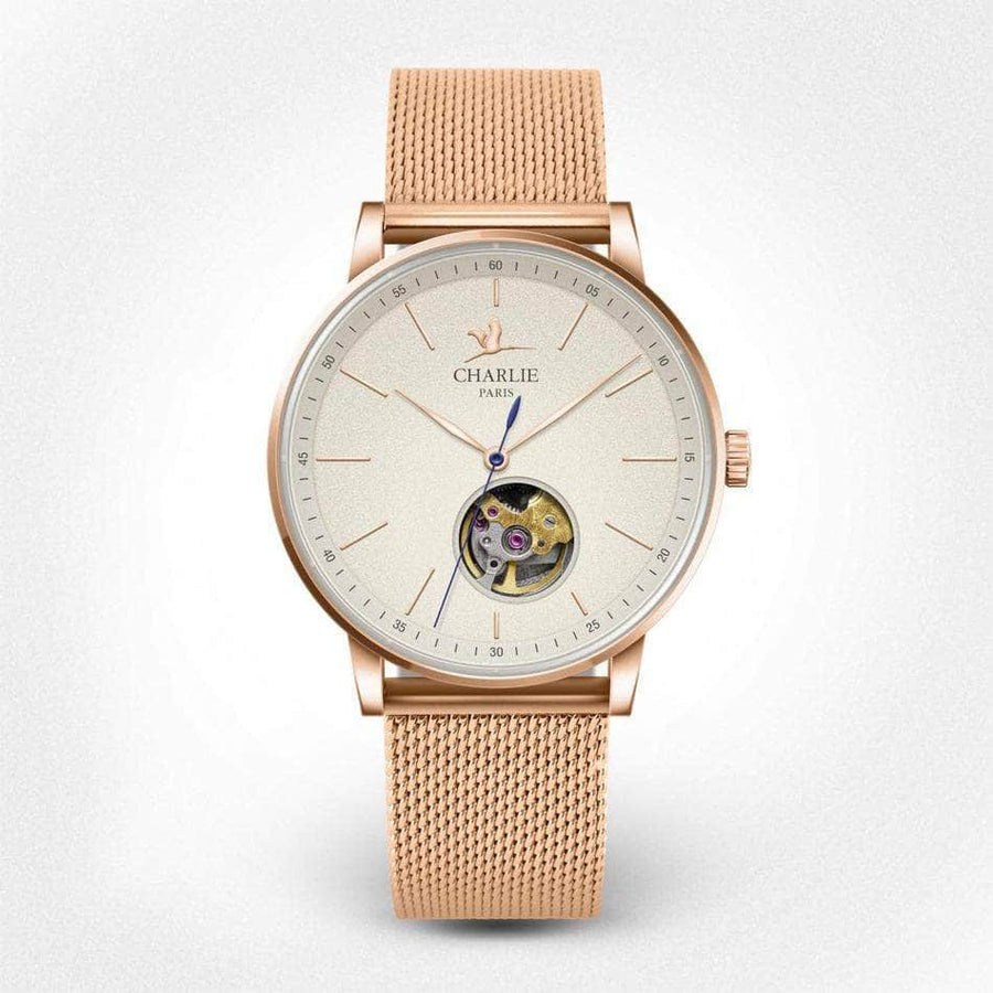 INITIAL 36 Cœur Ouvert - Or rose - Montre homme & montre femme - Automatique & quartz - Made in France