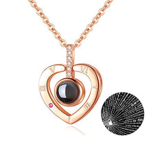 Load image into Gallery viewer, Rose Gold 100 Languages I Love You Projection Pendant Necklace for women Jewelry
