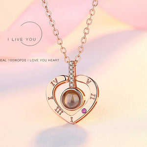 Rose Gold 100 Languages I Love You Projection Pendant Necklace for women Jewelry