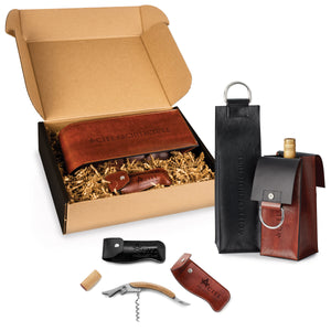 2 Piece Fabrizio Leather Wine Set