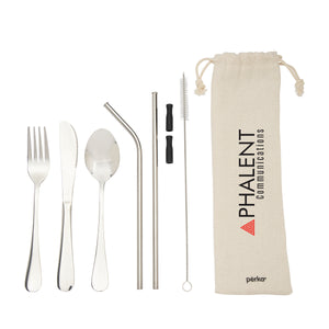 Perka® Castellana 6-Piece Steel Straw & Utensil Set