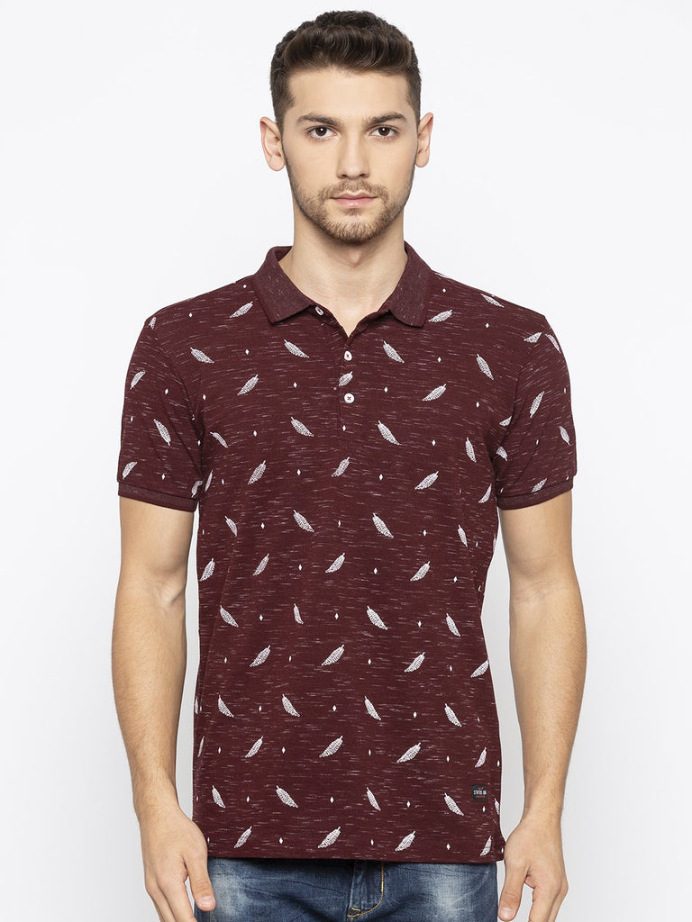 Wine Printed Polo Tshirt