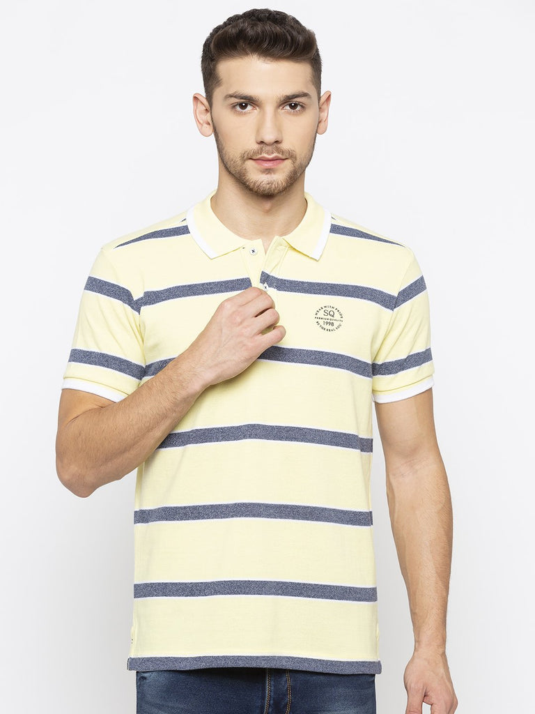 Yellow and Navy Striped Polo Tshirt