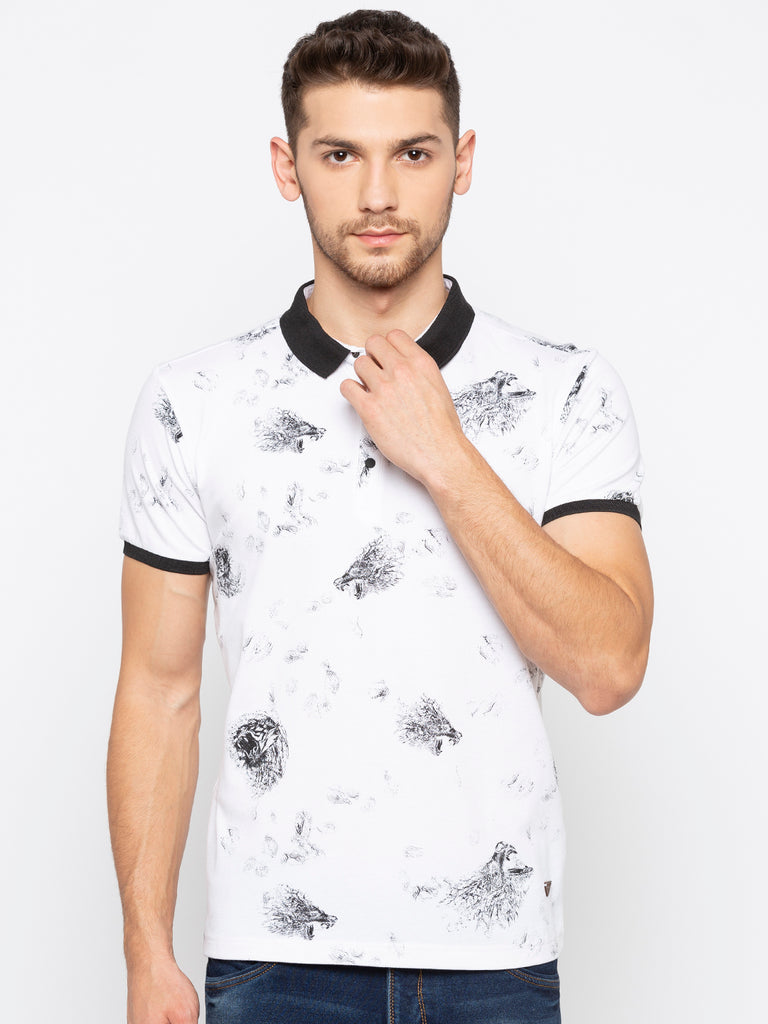 White Printed Polo T shirt