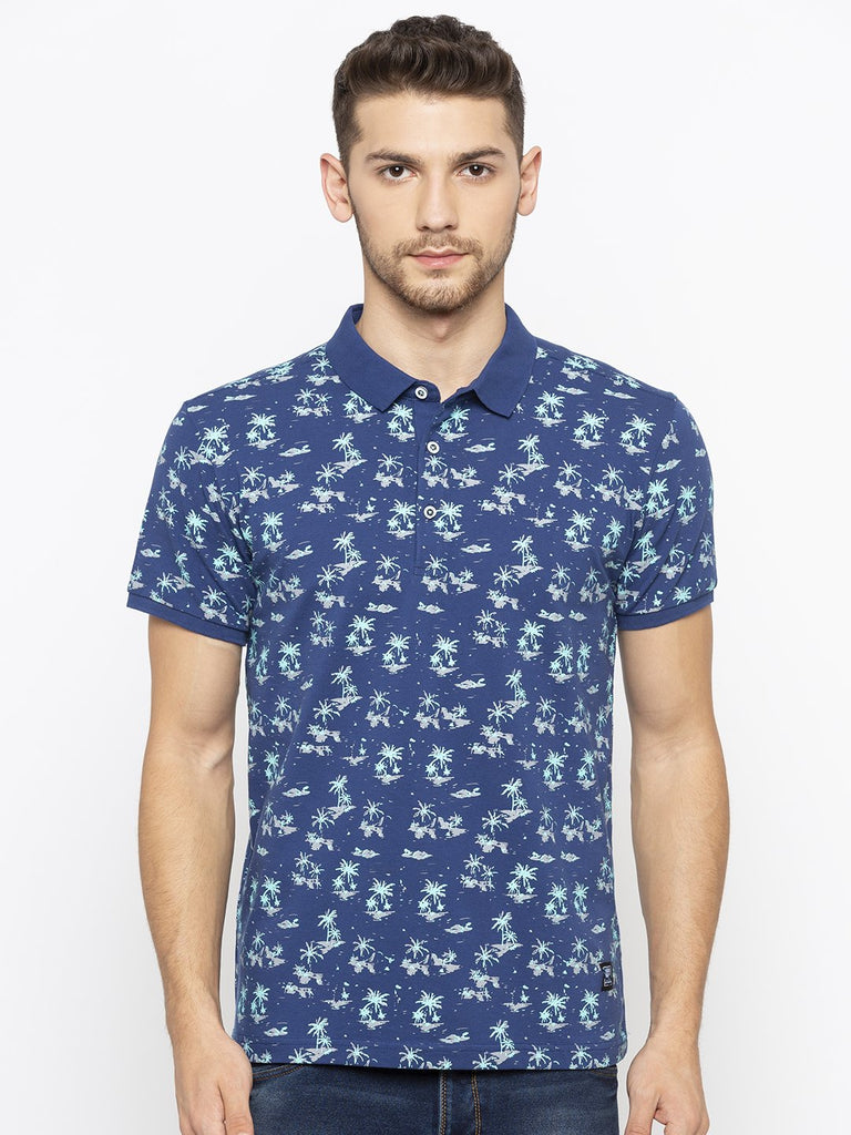 Blue Printed Polo Tshirts