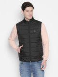 Solid Sleeveless Puffer Jacket