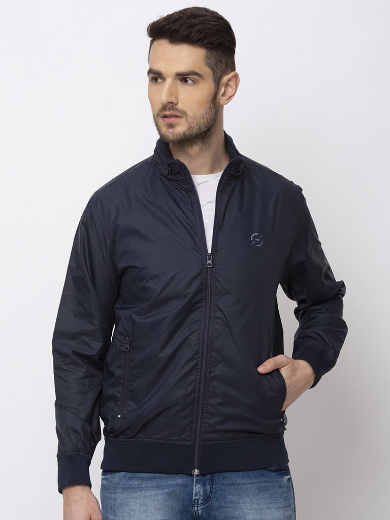 Status Quo |Navy High Neck With Zipper Jacket - M, L, XL, XXL