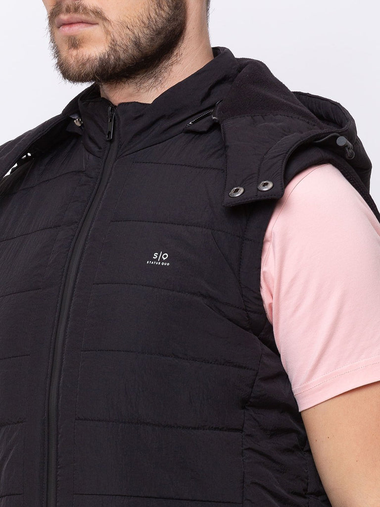 Solid Sleeveless Quilted Jacket