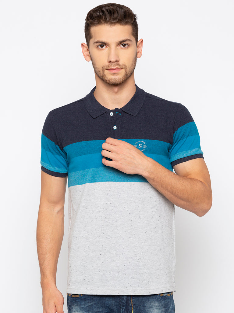 Black Blue Striped Polo Tshirts