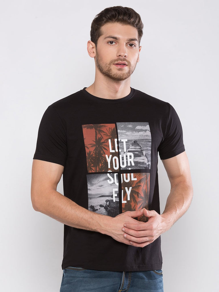Black Graphic & Printed Tshirt