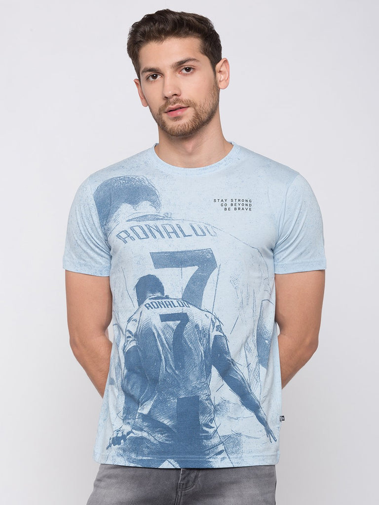 Ronaldo Blue Printed T Shirt