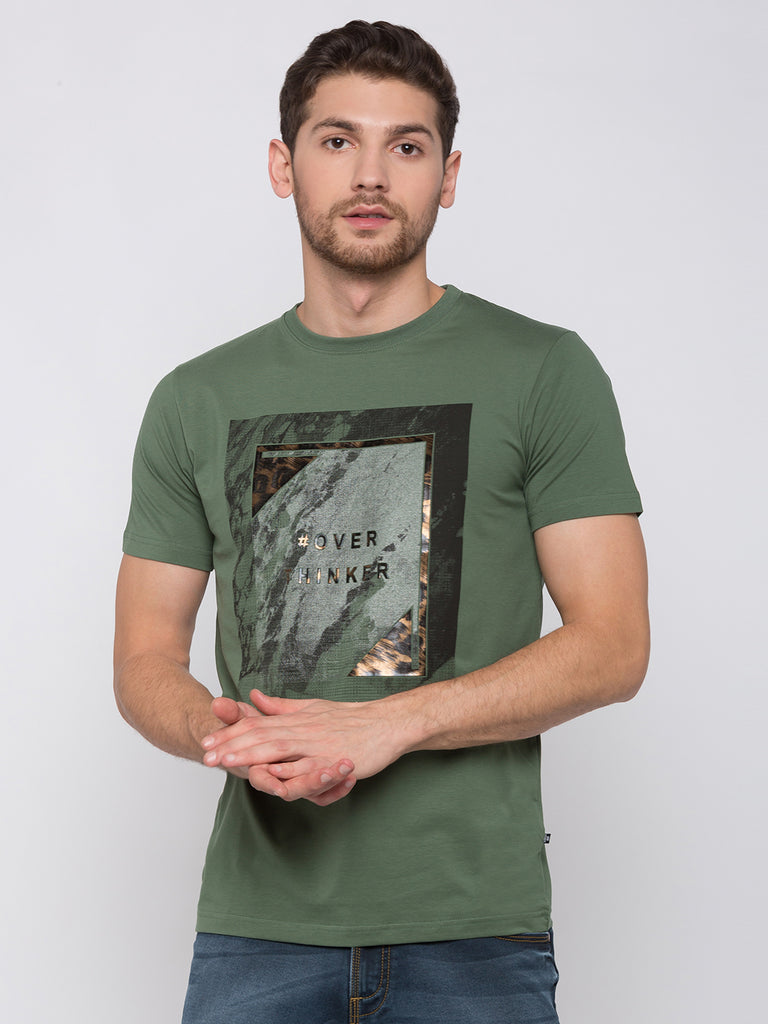 Olive Graphic & Printed Tshirt