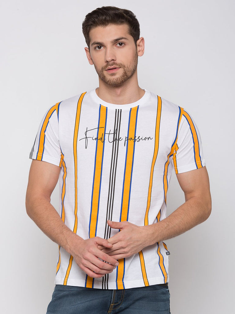 White Striped Cotton T Shirt
