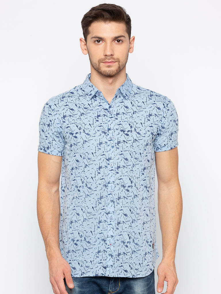 Printed Sky Blue Shirt
