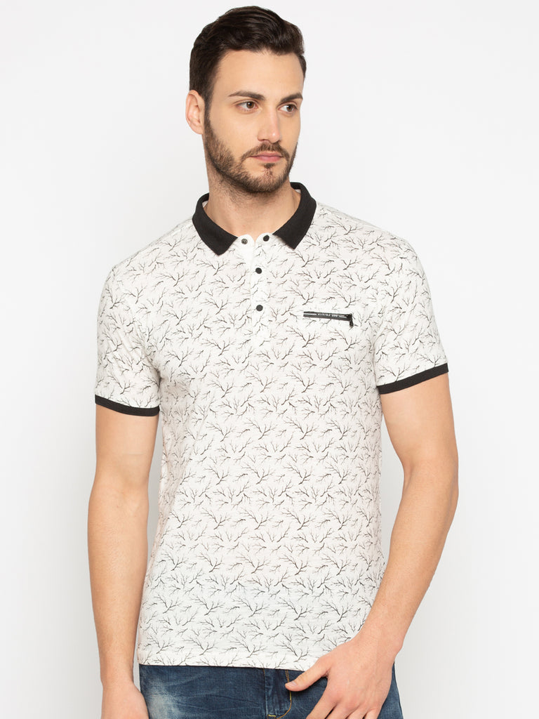 Printed White Polo Tshirt