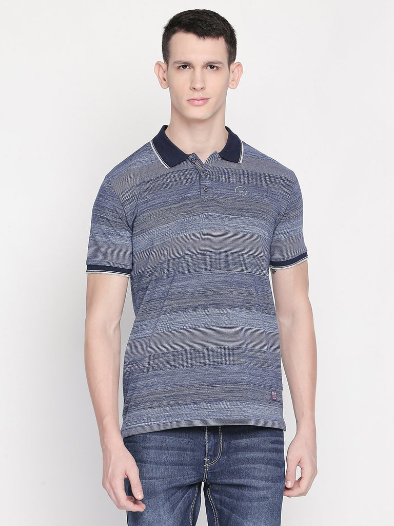 Navy Blue Striped Polo Tshirt