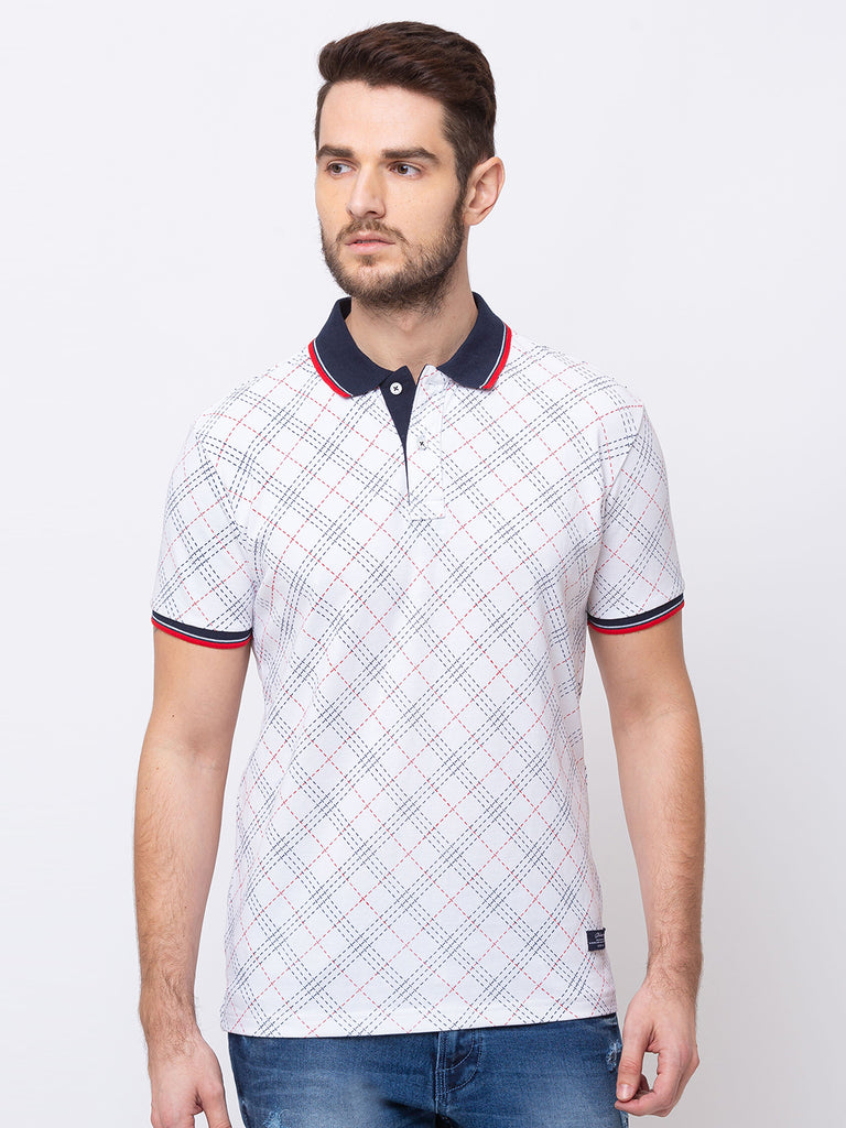 Checkerd Collar Neck T-Shirt