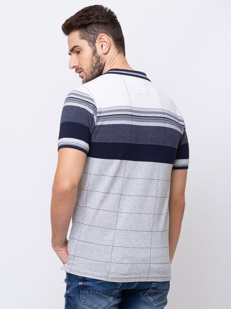 Vertical Pin Stripes Collar Neck T-Shirt