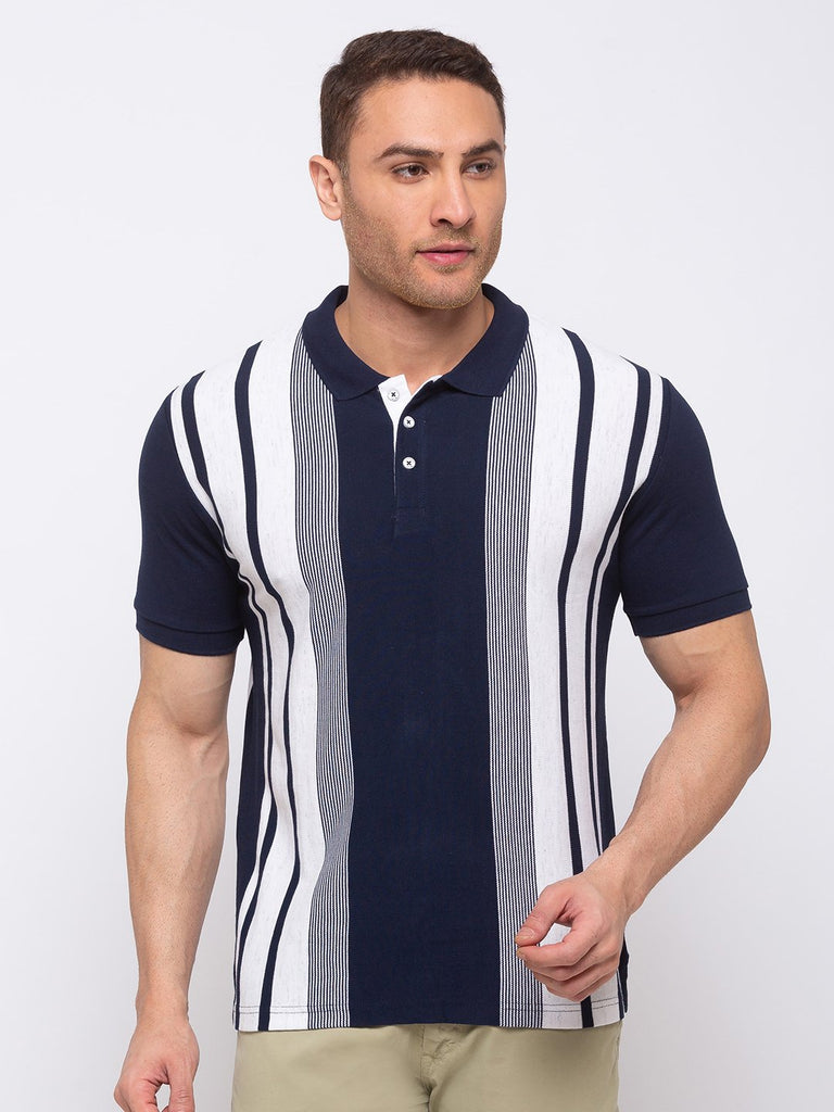Status Quo |Stripes Regular Fit Polo T-shirt - 3XL, 4XL, 5XL