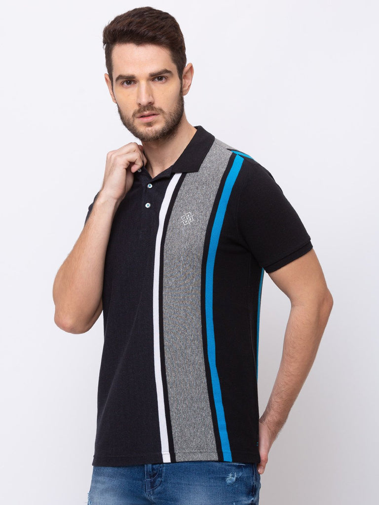 Vertical Stripes Collar Neck T-Shirt