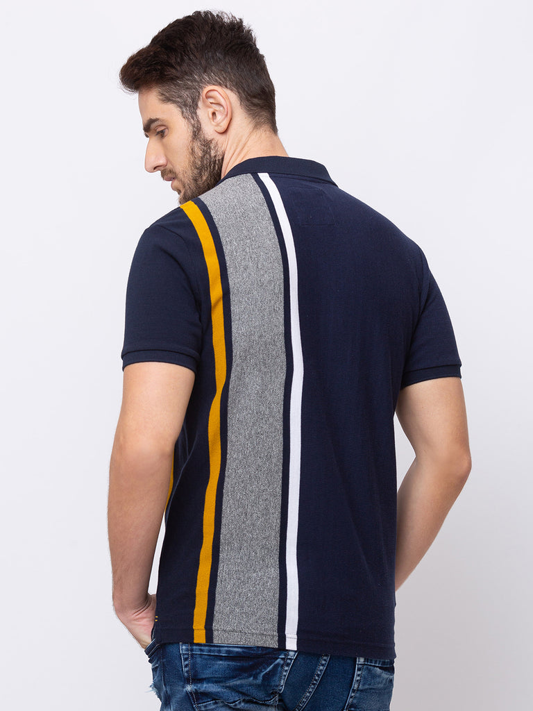 Striped Collar Neck Polo T-shirt