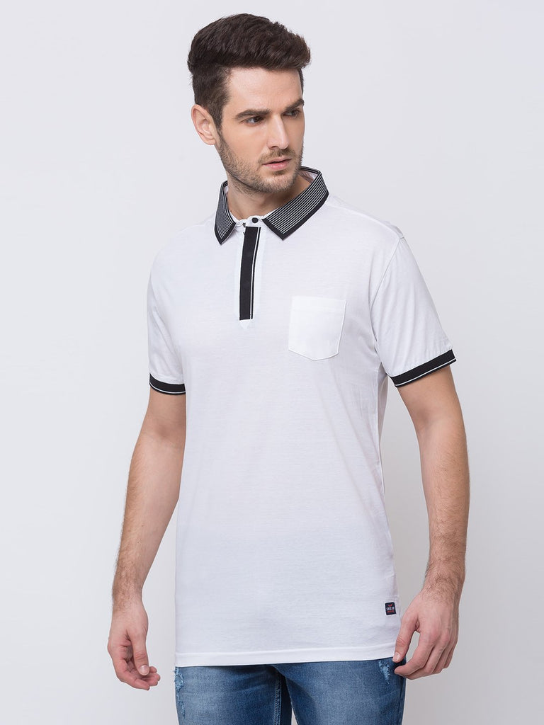 Solid Tipping Collar T-Shirt with Pocket