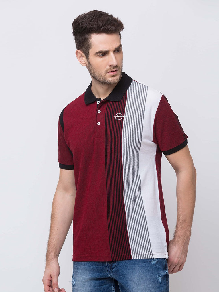 Stripes  Collar Neck T-Shirt