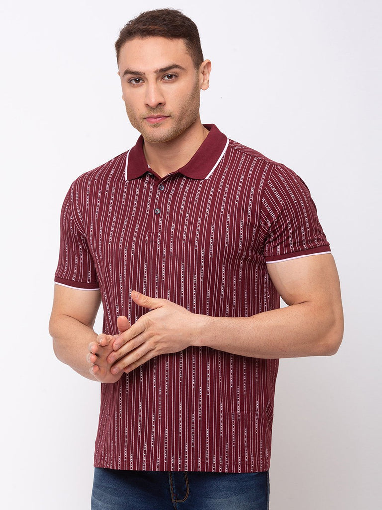Status Quo |Vertical Stripes Tipping Collar Tape T-shirt with Rotary Print - M, L, XL, XXL