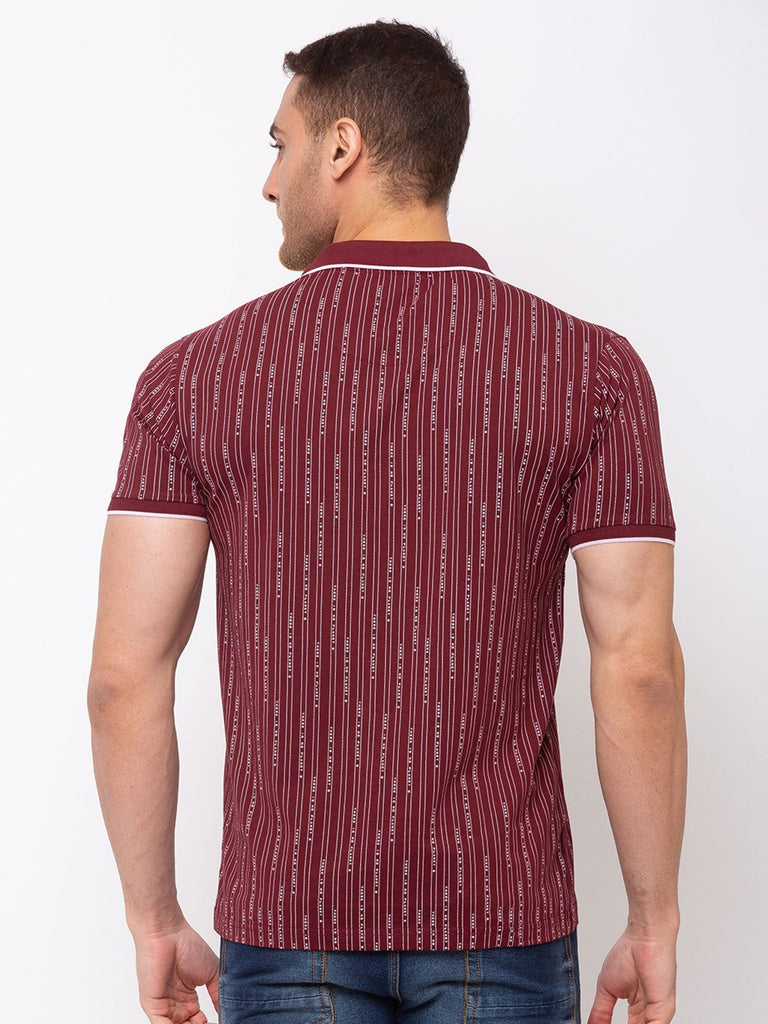 Vertical Stripes Tipping Collar Tape T-shirt