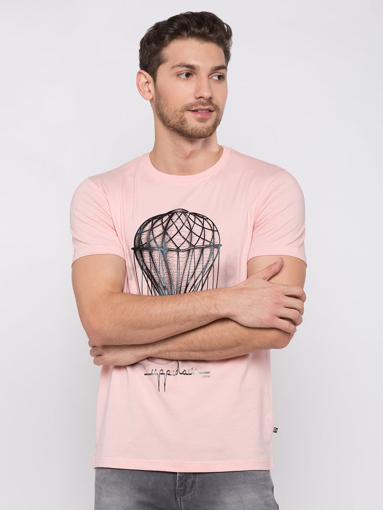 Pink Cotton Chest Print T Shirts