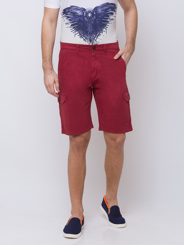 Status Quo |Wine Solid Woven Shorts - M, L, XL, XXL