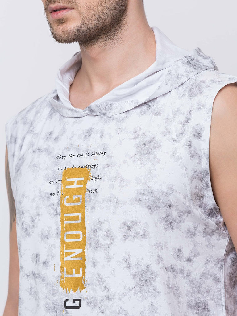 Printed Sleevless Round Neck With Hood T-Shirt