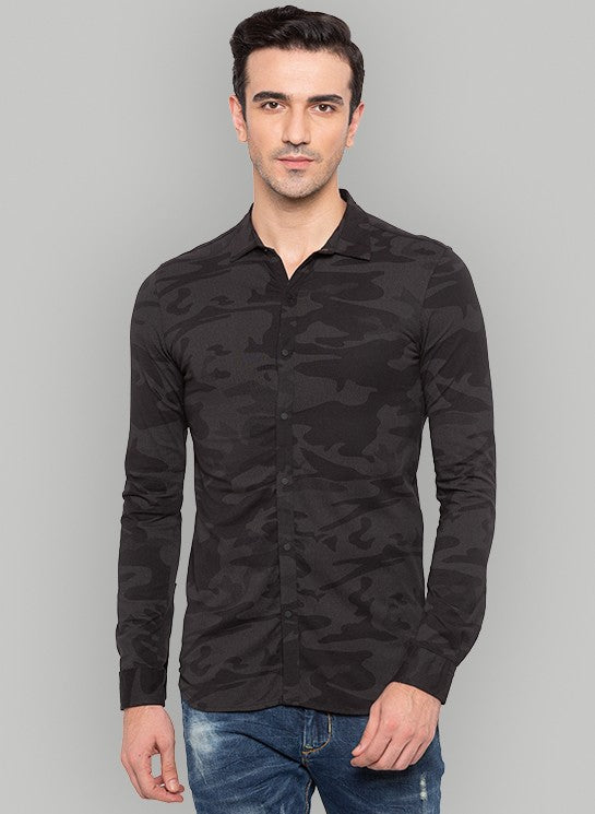 Slim Fit Camo Print Black Shirt