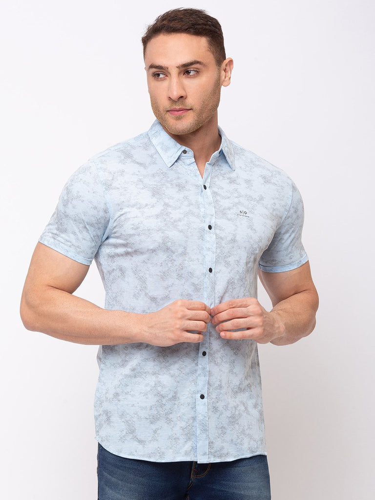 Status Quo |All Over Printed Spread Collar Shirt with Rotary Print - 3XL, 4XL, 5XL