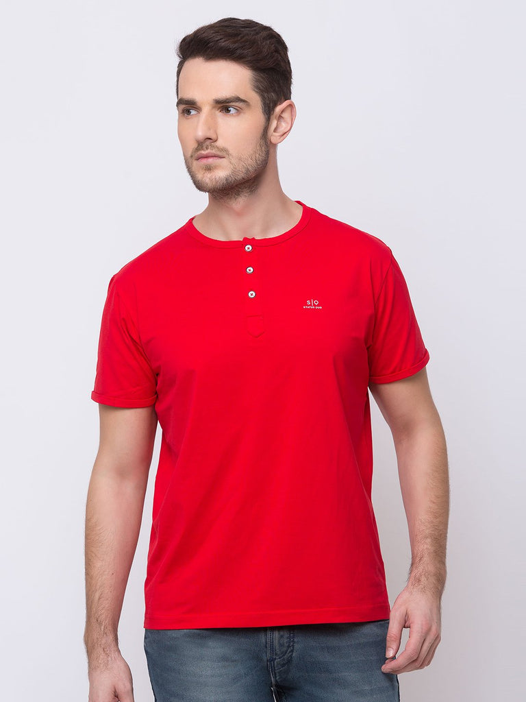 Status Quo |BRICK RED Henley Neck T-Shirt - M, L, XL, XXL