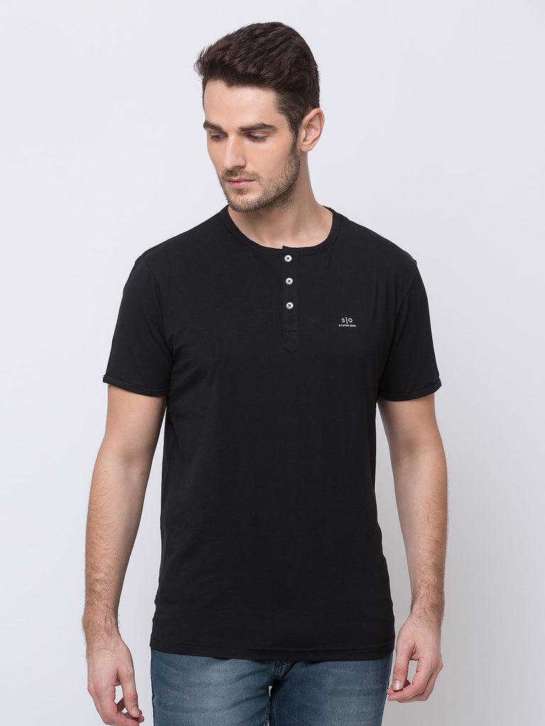 Status Quo |Black Henely Neck T-Shirt - 3XL, 4XL, 5XL