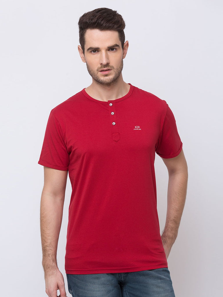 Status Quo |Red Henely Neck T-Shirt - M, L, XL, XXL