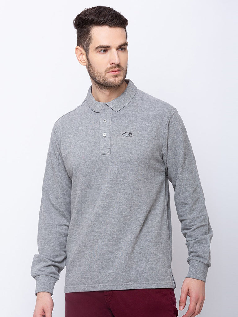 Solid  Collar Neck T-shirt